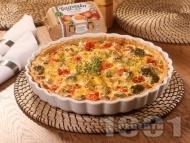 Зеленчуков киш с броколи, гъби, чери домати и яйца Багрянка